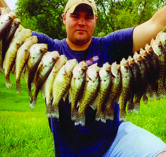 Colby Simms displays a mess of Kinkaid Lake crappie.
