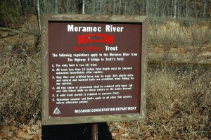 """Red Ribbon Trout Sign"" Be sure to know the rules when fishing the trouphy trout area of the Meramec River."
