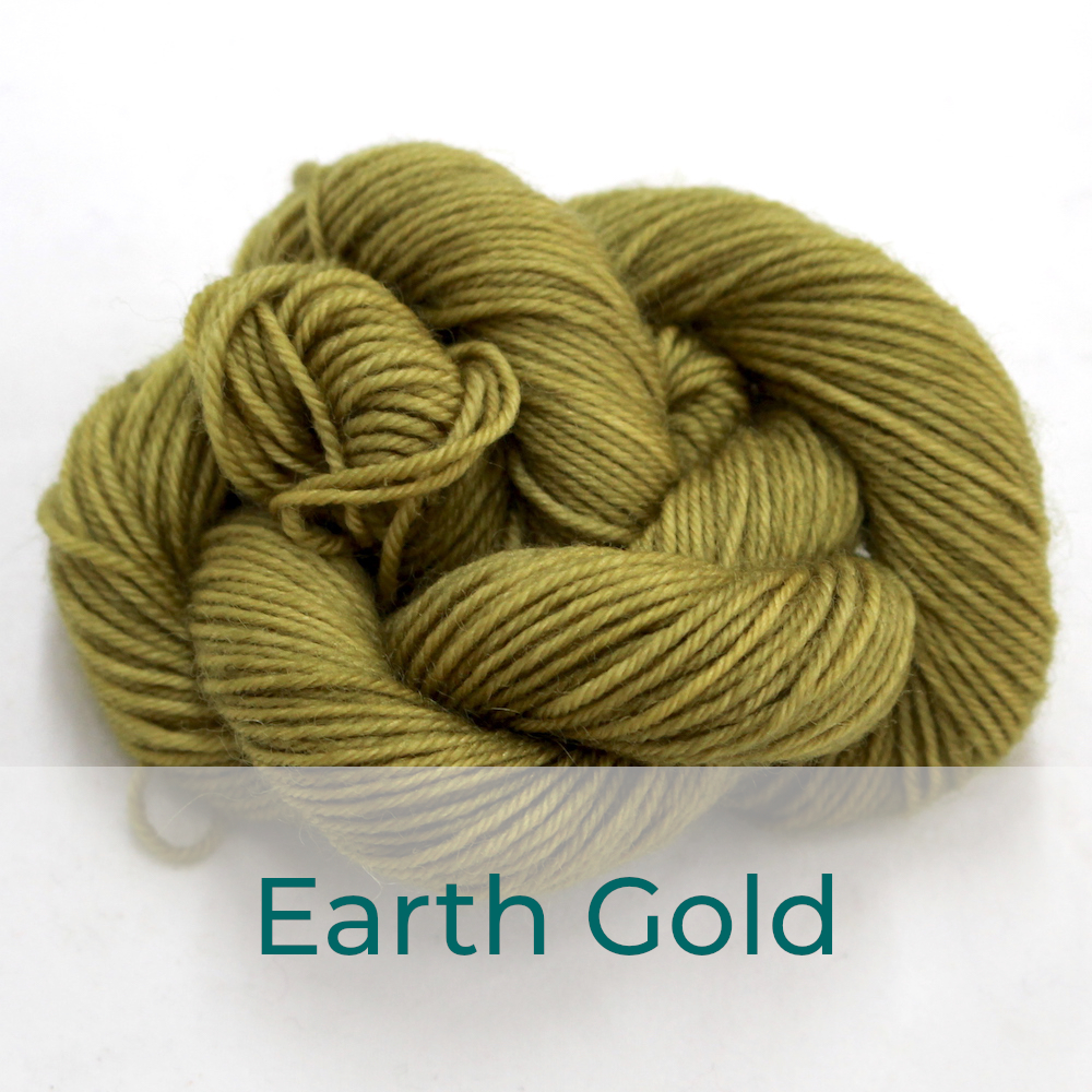 BFL 4 Ply mini skein in the Earth Gold colourway. It is light green-brown.