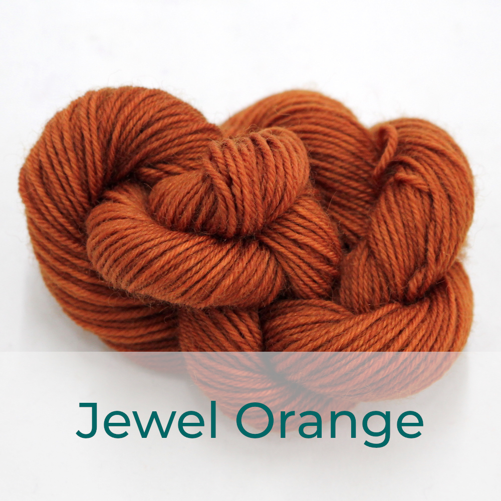 BFL 4 Ply mini skein in the Jewel Orange colourway. It is a gingery brown.