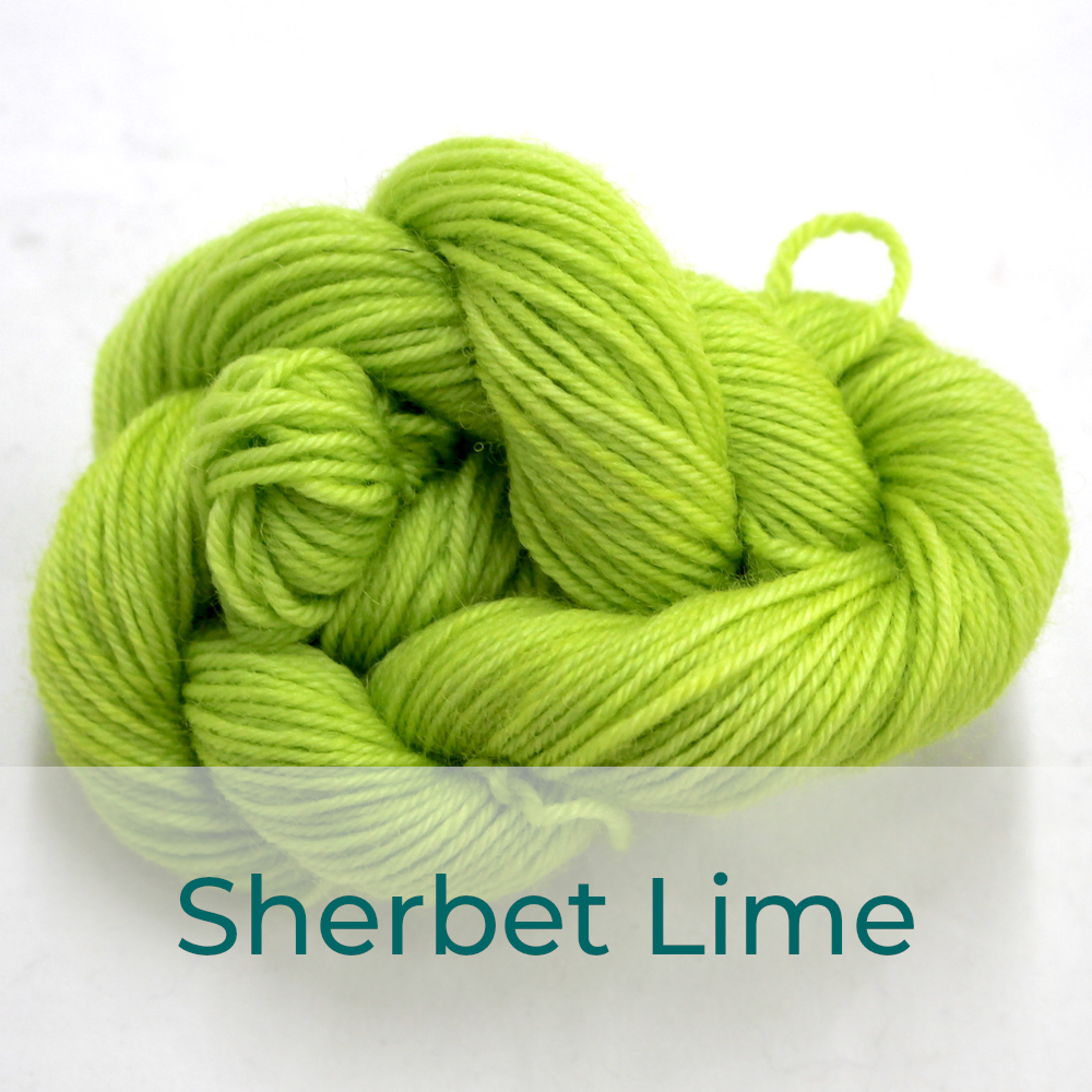 BFL 4 Ply mini skein in the Sherbet Lime colourway. It is light lime green.