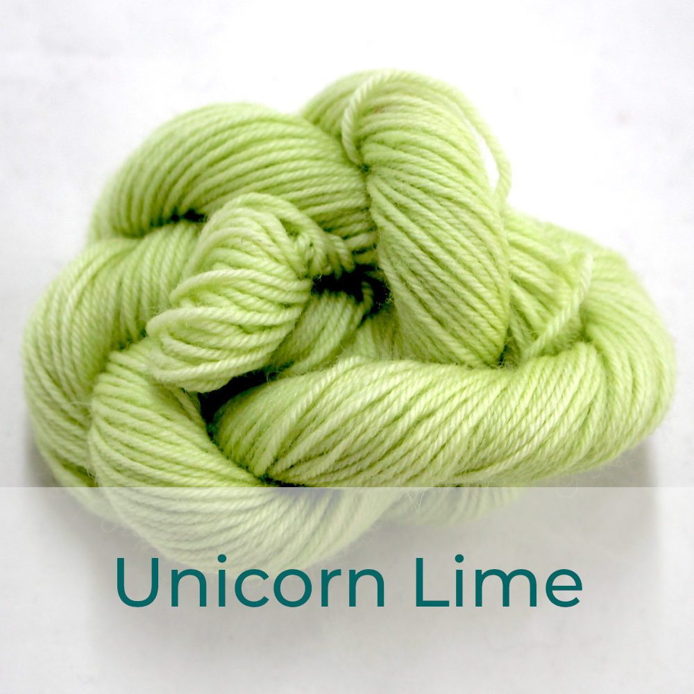 BFL 4 Ply mini skein in the Unicorn Lime colourway. It is very light lime green.