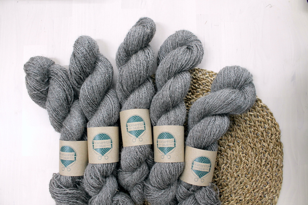 Skeins of Northampton Shear Leicester Longwool, a natural grey yarn