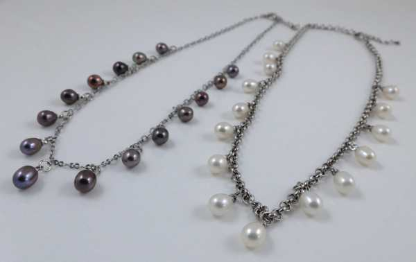 Teardrop Pearl & Platinum-plated Chain Necklace