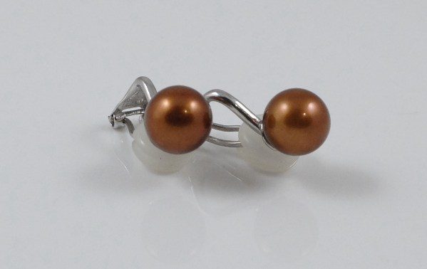 Chocolate River Pearl Sterling Silver Clip on earrings