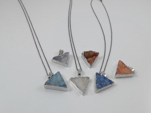 Small Triangle Druzy Pendants
