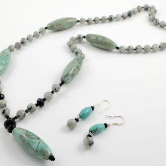 Tianshan Lan Jasper Y Necklace & Earrings