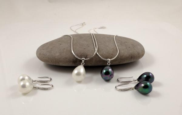 Silver White Black Seashell Pearl Sets