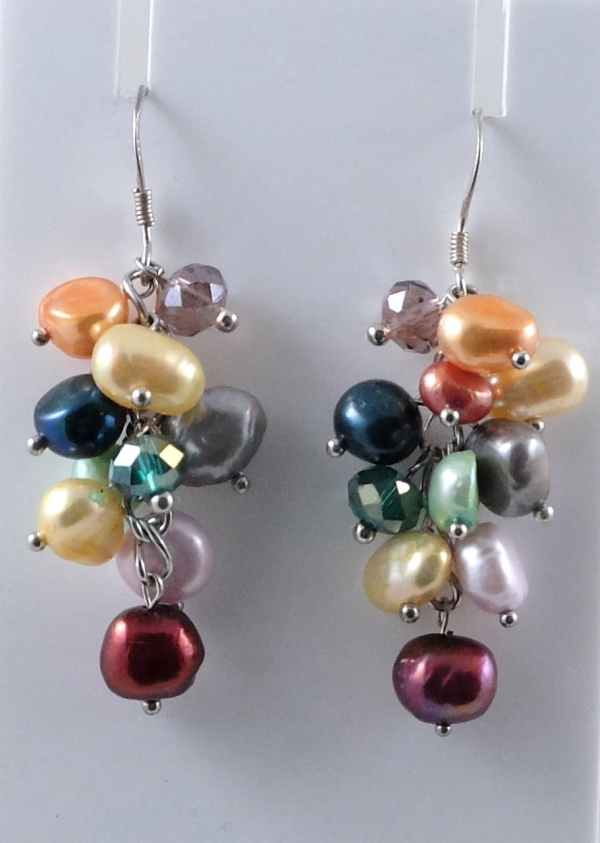 Multi-colour baroque pearl earrings with crystals