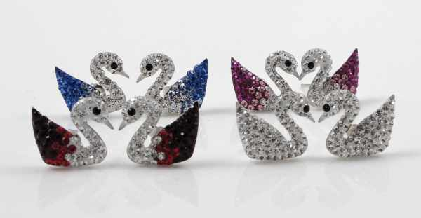 4 colour swan studs