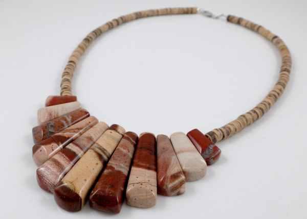 picture jasper & coconut shell necklace