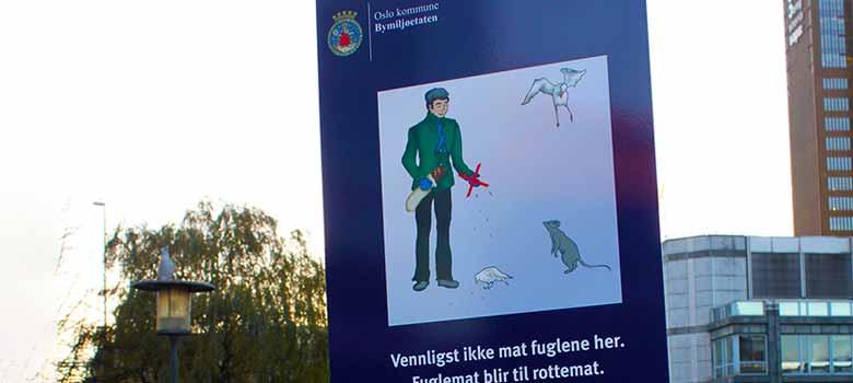 Skilt - ikke mat fuglene - laget av riverside praksisplasser