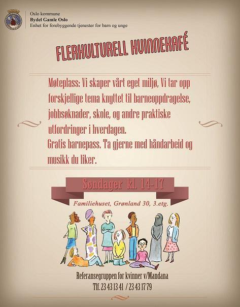Web&grafisk praksisplass lager poster til flerkulturell kvinnekafe på Familiehuset i Bydel Gamle Oslo