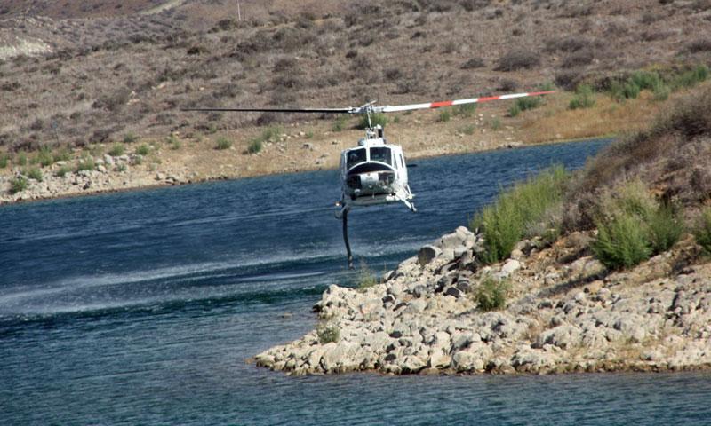 Helicopter filling up at Lake Mathews