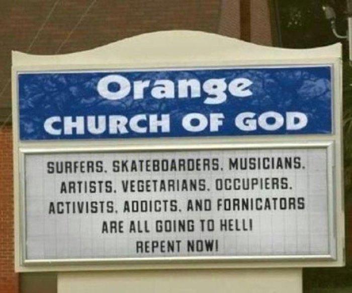 Orange Church of God Sign