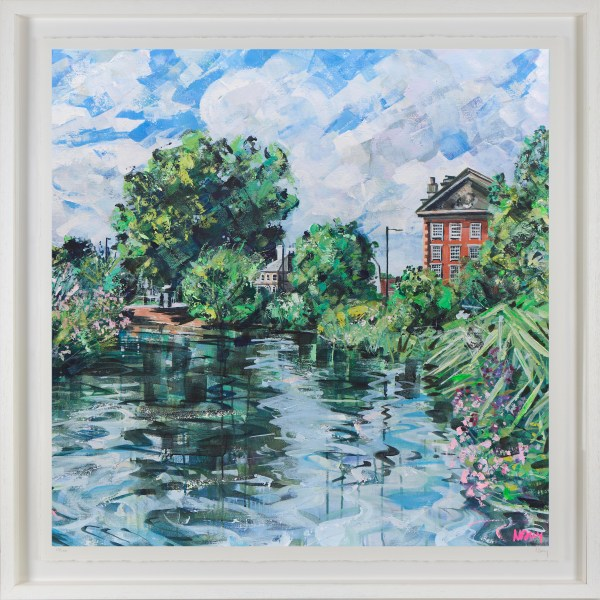 Print of Barnes Pond 80x80cm framed by Nadia Day at Riverside Gallery Barnes