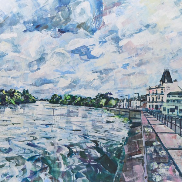 Barnes Towpath painting on canvas by Nadia Day, Riverside Gallery Barnes