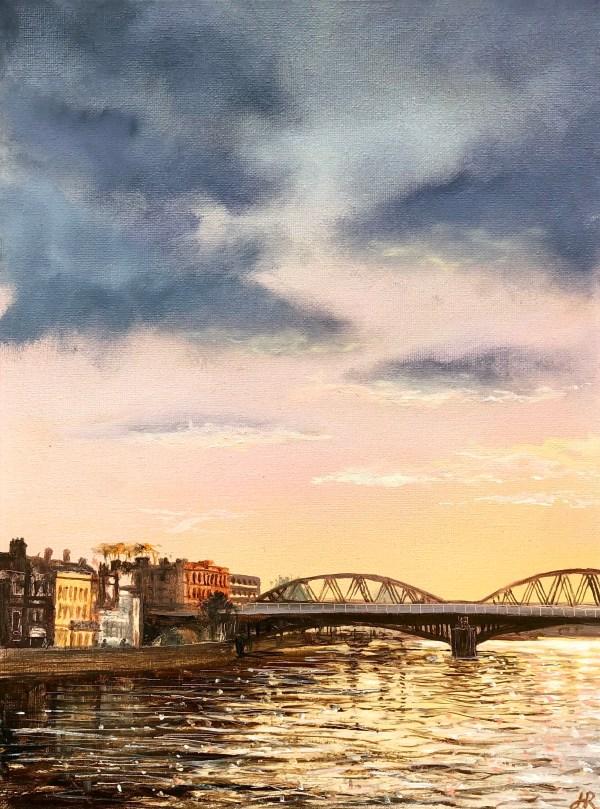 Barnes Bridge Sunset by John Ronayne
