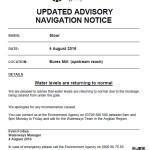UPDATED Advisory Navigation Notice