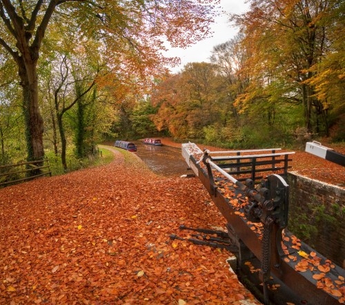 "alt=""An autumn view of the Brecon to Monmouth Canal at Llangynidr, Brecon Beacons National Park, Wales, United Kingdom"""
