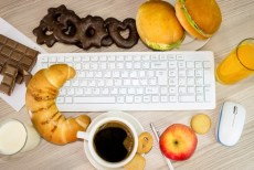 workstation covered by food