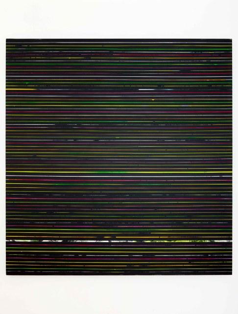 Paolo Bini, 2016, Black monochrome, 200x190cm, acrylic on paper tape on canvas