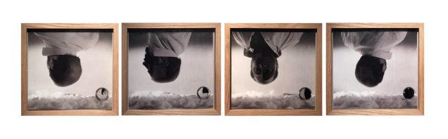 Michele Zaza, Dissoluzione e Mimesi, 1974, quattro foto in bianco e nero, cm 20 x 20 ciascuna, Courtesy Galleria Bianconi, Milano