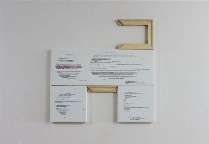Donatella Lombardo, frammentarie-evoluzioni-grafiche-o-the-twitter-middle-ages__2016-tecnica-mista-100x100x45