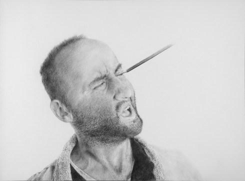 """Massimiliano Galliani, """"autoritratto E matita"""" 2016 matita su carta, cm 42 x 60"""