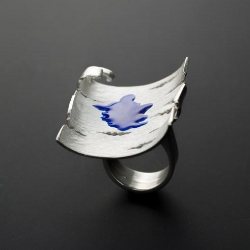 Franco Mello Marco Gastini blu betulla anello in argento e smalto 2014 ph Carlo Carossio