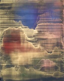 Matteo Montani, Vespertine rising 2017 olio e polveri metalliche su carta abrasiva intel...