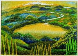 Gerardo Dottori Paesaggio umbro 1944 Disegno a matite colorate 29 x 42 cm Comune di Civitanova Marche - Pinacoteca Civica Marco Moretti