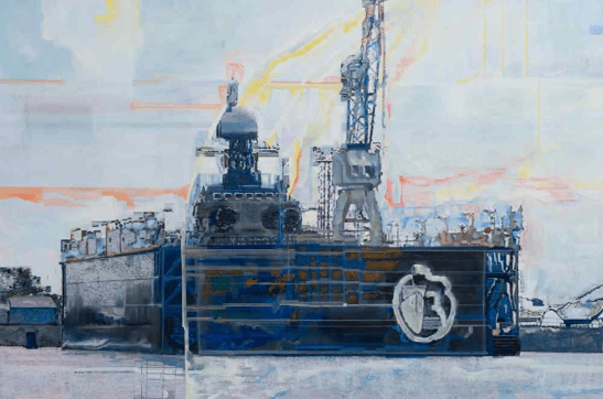 Lucia Lamberti, Bacino di carenaggio 1, tecnica mista su tela, cm 120×180, anno 2009