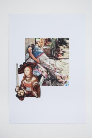 Eva Hide, Giuditta vittoriosa,collage,2017, cm 35x50
