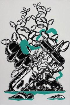 M-CITY, 628, 100x150cm, Stencil on Canvas, 2012, Courtesy Traffic Gallery