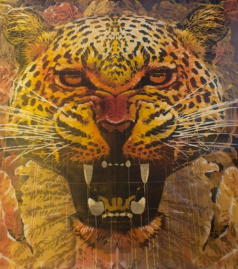 Orticanoodles, Head of Jaguar, 194x183cm, Ed. 3_3 yellow-brown-color, stencil on canvas, 2015, Courtesy Traffic Gallery
