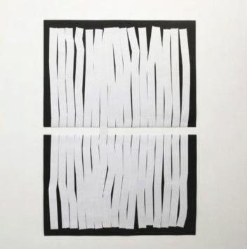 Carlo Colli, Recompose Black 9M10S, 2017, pittura nera strappata su carta e nastro americano bianco, 100x70cm. ciascuno, (installazione dimensioni variabili).