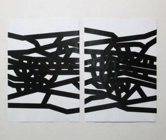 Carlo Colli, Recompose White 34M31S+41M48S, 2017, pittura bianca strappata su carta e nastro americano nero, 100x70cm. ciascuno, (installazione dimensioni variabili).