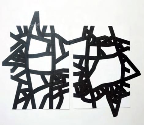 Carlo Colli, Recompose White 41M49S+43M48S, 2017, pittura bianca strappata su carta e nastro americano bianco, 100x70cm. ciascuno, (installazione dimensioni variabili).