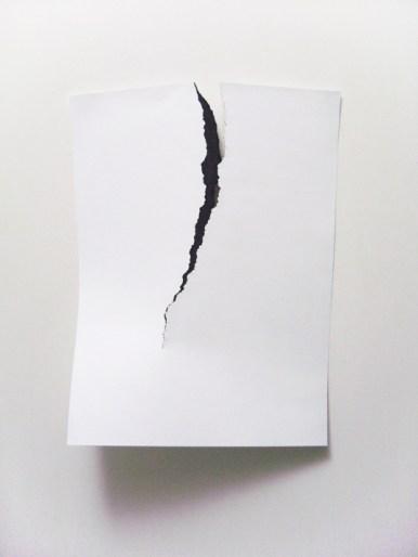 Carlo Colli, Skin N3, 2014, pittura bianca strappata, 50x70