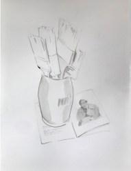 Alberto Torres Hernandez, Brushes and Picasso, inchiostro su carta, 40 x 30 cm, 2018