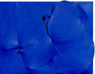 Agostino Bonalumi, Blu, 1992, 114x146 cm, Tela estroflessa e acrilico