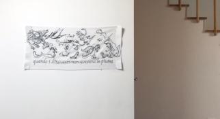 Rebecca Agnes, quando i dinosauri non avevano le piume, 2018, ricamo su stoffa, – BoCs Art Cosenza