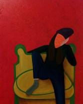 M. Lorenza D'agostino, Autoritratto senza titolo, 2017-2018, misto su tela