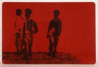 Mario Schifano, Compagni compagni, 1968, smalto e spray su tela e perspex / enamel and spray paint on canvas with perspex 200 x 300 cm collezione privata, Courtesy Fondazione Marconi, Milano © Mario Schifano by SIAE 2018