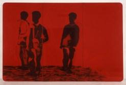Mario Schifano, Compagni compagni, 1968, smalto e spray su tela e perspex / enamel and spray paint on canvas with perspex 200 x 300 cm collezione privata, Courtesy Fondazione Marconi, Milano © Mario Schifano by SIAE 2018