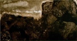 Vincenzo Scolamiero, Per sottrazione, tra cielo e terra, 2014 - Olio e pigmenti su tela, cm. 135x235 - courtesy Galleria Porta Latina, Roma