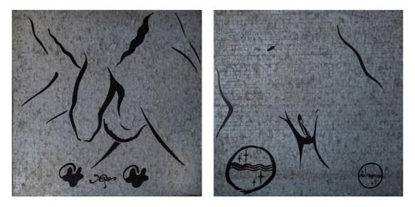 Romeo Castellucci, Soc. Raffaello Sanzio, Eche, 1985, dittico smalto su zinco cm 45x45