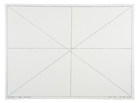 BOB LAW, TWO CROSSES CCCXXV 22.02.2000 (2000), 56 x 76.5 cm, pencil on paper