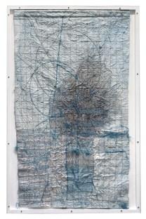 maria lai_mappa celeste 1991_filo e ricamo su tessuto- 104x70cm